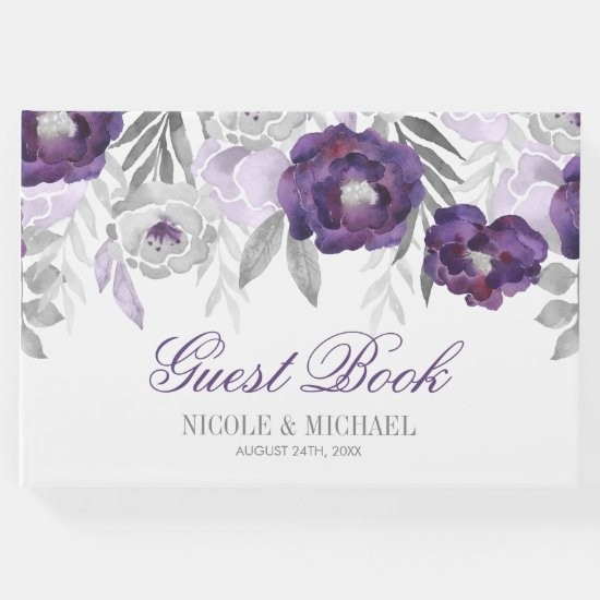 Purple Gray Watercolor Flowers Wedding Guest Book