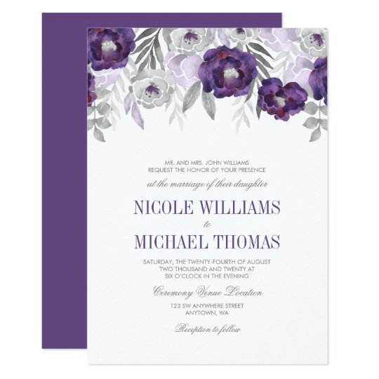 Purple Gray Watercolor Flowers Wedding Invitations