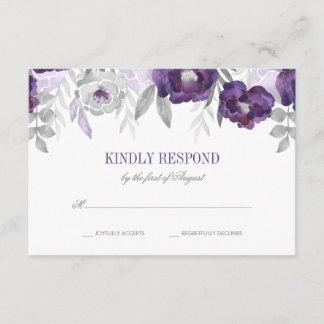 Purple Gray Watercolor Flowers Wedding RSVP
