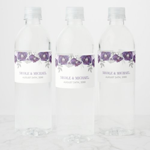 Purple Gray Watercolor Flowers Wedding Water Bottle Label