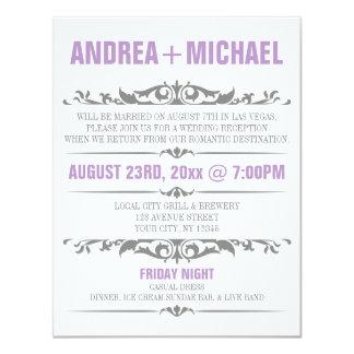 Purple & Gray Wedding Reception ONLY Invitations