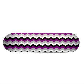 Purple Gray White Black Chevron Zig Zag Retro Skate Decks