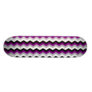 Purple Gray White Black Chevron Zig Zag Retro Skateboard