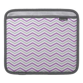 Purple, Gray, White Chevron Stripes iPad Sleeves