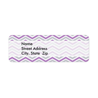 Purple, Gray, White Chevron Stripes Custom Return Address Label