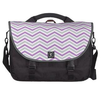 Purple, Gray, White Chevron Stripes Bag For Laptop