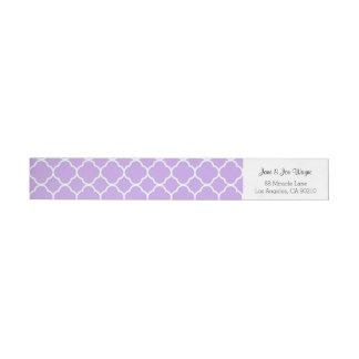 Purple Gray White Contemporary Quatrefoil Wrap Around Label