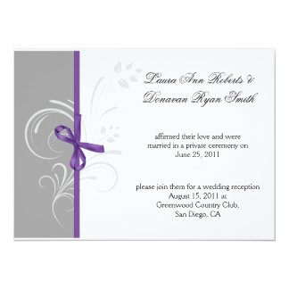 Purple Gray White Floral Swirls Post Weddi Card