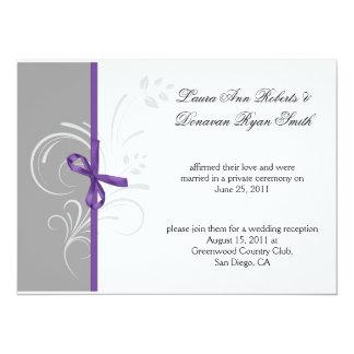 "Purple Gray White Floral Swirls Post Weddi 5.5"" X 7.5"" Invitation Card"