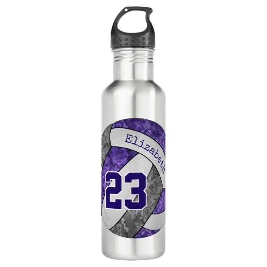Purple gray white girls' volleyball team colors stainless steel water bottle
