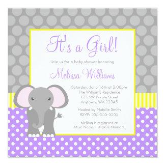 Purple Gray Yellow Elephant Girl Baby Shower Card