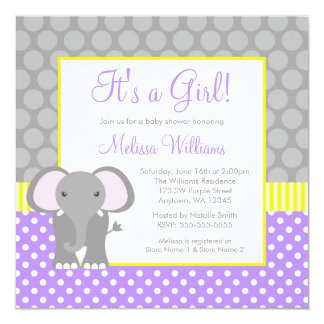 Purple Gray Yellow Elephant Girl Baby Shower 5.25x5.25 Square Paper Invitation Card