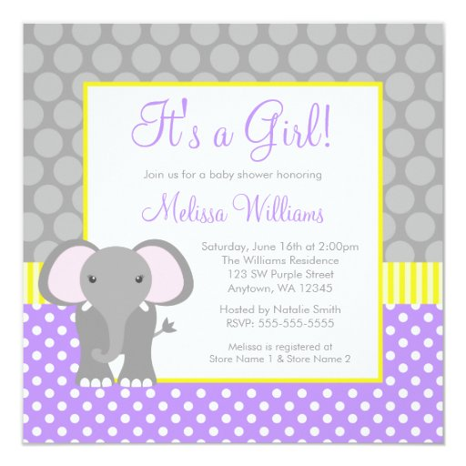 Personalized Purple elephant baby shower Invitations