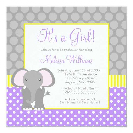 Purple Gray Yellow Elephant Girl Baby Shower Invitation Zazzle