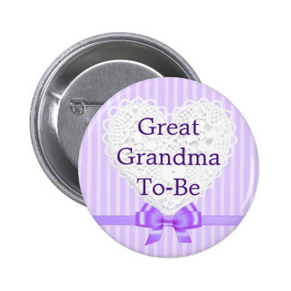 Purple Great Grandma to be Baby Shower Button
