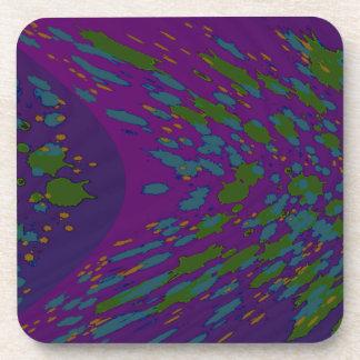 purple green abstract art coaster