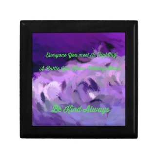 "Purple Green Abstract ""Be Kind Always"" Wave Jewelry Box"