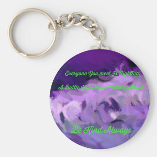 """Purple Green Abstract """"Be Kind Always"""" Wave Keychain"""