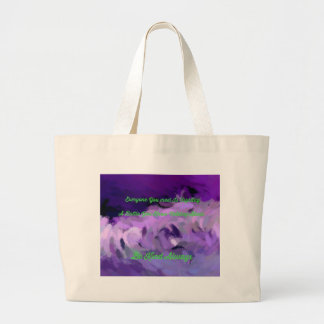 "Purple Green Abstract ""Be Kind Always"" Wave Large Tote Bag"