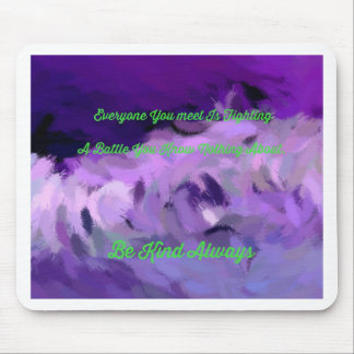 "Purple Green Abstract ""Be Kind Always"" Wave Mouse Pad"