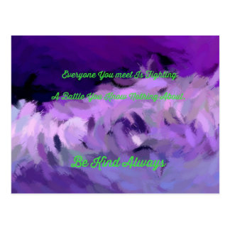 """Purple Green Abstract """"Be Kind Always"""" Wave Postcard"""