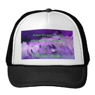 "Purple Green Abstract ""Be Kind Always"" Wave Trucker Hat"