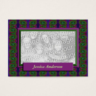 purple green abstract photo frame business card