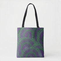 Purple green abstract shoulder fabric bag