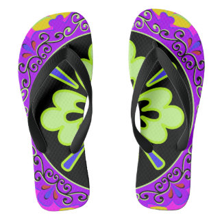Purple, Green and Black Plate pattern Flip Flops