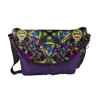 Purple Green and Blue Mandala Fractal Pattern Courier Bags