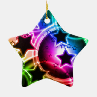 Purple Green and Blue STAR balloon collage Double-Sided Star Ceramic Christmas Ornament