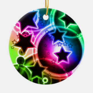 Purple Green and Blue STAR balloon collage Double-Sided Ceramic Round Christmas Ornament