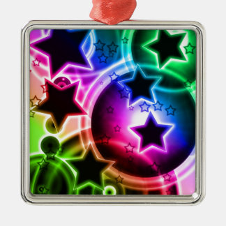 Purple Green and Blue STAR balloon collage Square Metal Christmas Ornament