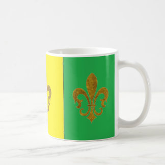 PURPLE GREEN AND GOLD MARDI GRAS COFFEE MUG