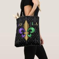 Purple Green and Gold Mardi Gras Fleur de Lis NOLA Tote Bag