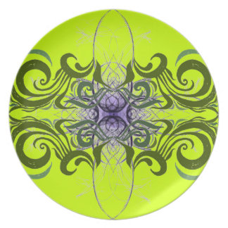 Purple, Green and Lime Abstract by Alexandra Cook Melamine Plate
