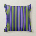 [ Thumbnail: Purple, Green, and Midnight Blue Lines Pillow ]
