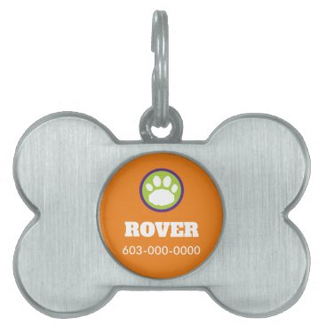Halloween Themed Purple, Green, and Orange Halloween Paw Print Pet Name Tag