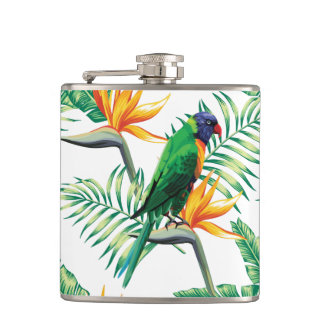 Purple Green And Orange Parrot And Flowers Flask