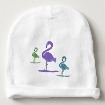 Beach Themed Purple, Green, and Teal Flamingos Art Baby Beanie