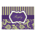 Purple, Green, and White Damask RSVP Card Personalized Invitation