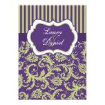 Purple, Green, and White Damask Wedding Invitation