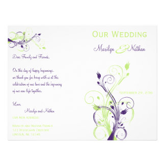 Purple, Green, and White Floral Wedding Program