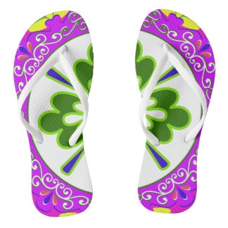 Purple, Green and White plate pattern Flip Flops