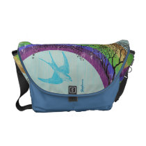 Purple Green Aqua Gold Rainbow Vintage Bird Bag
