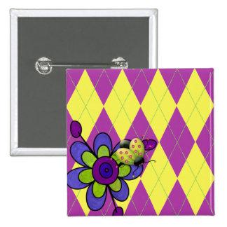 Purple & Green Argyle Ladybug & Flower Buttons