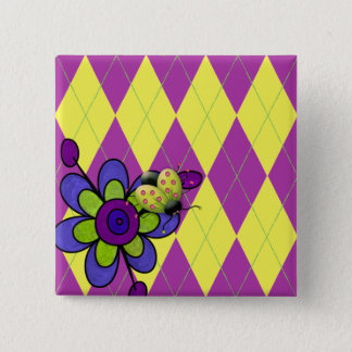 Purple & Green Argyle Ladybug & Flower Pinback Button