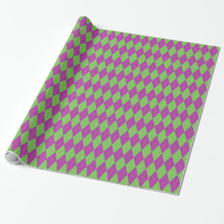 Purple & Green Argyle Wrapping Paper
