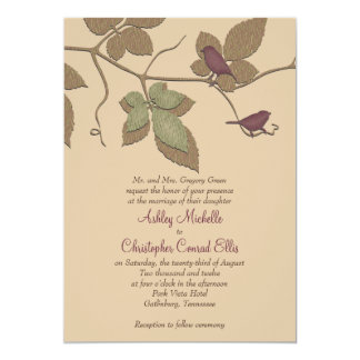 Purple Green Birds Leaves Fall Wedding Invitation