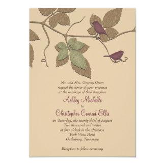 Purple Green Birds Leaves Fall Wedding Invitation
